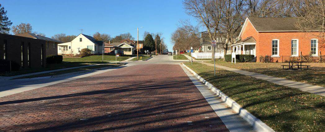 Road paved with red brick for the Brick Streets Project Completion